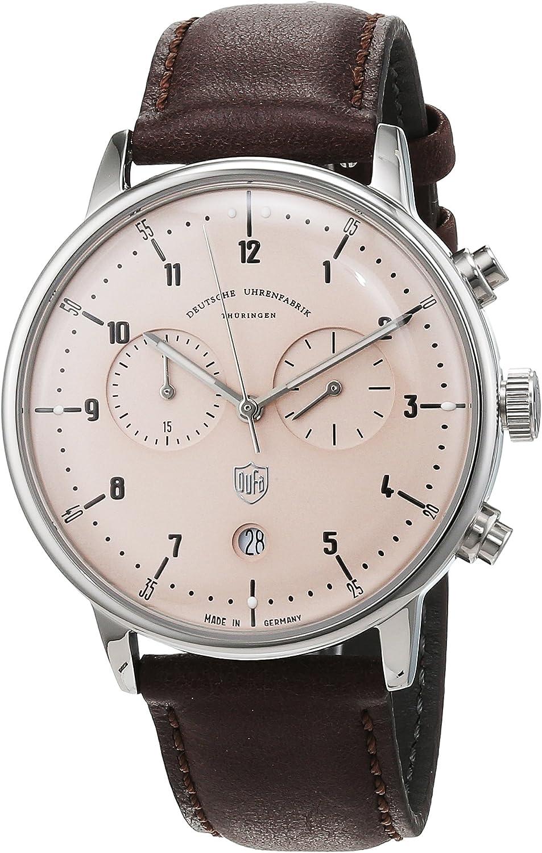 Reloj Cuarzo Dufa Deutsche Uhrenfabrik para Unisex con Gris Cronógrafo Y Marrón Cuero Hannes Chrono DF-9003-06 Quartz