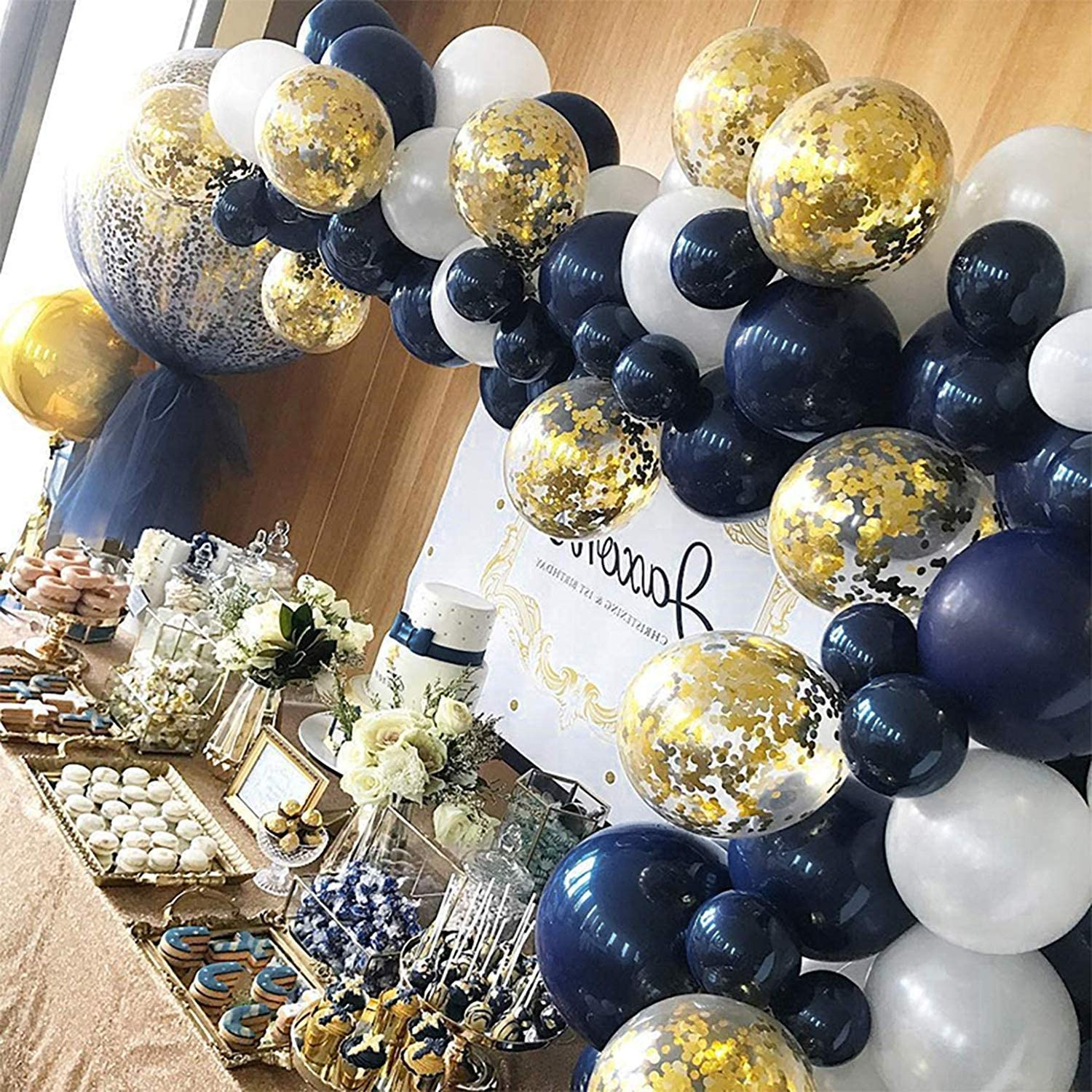 Fabric-Balloons Blues,Gold SALE SALE