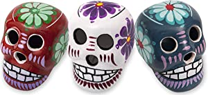HP Industries, Inc. Day of The Dead Miniature Clay Sugar Skull 3 Pack Set of Assorted Hand Painted Calavera Dia de Los Muertos