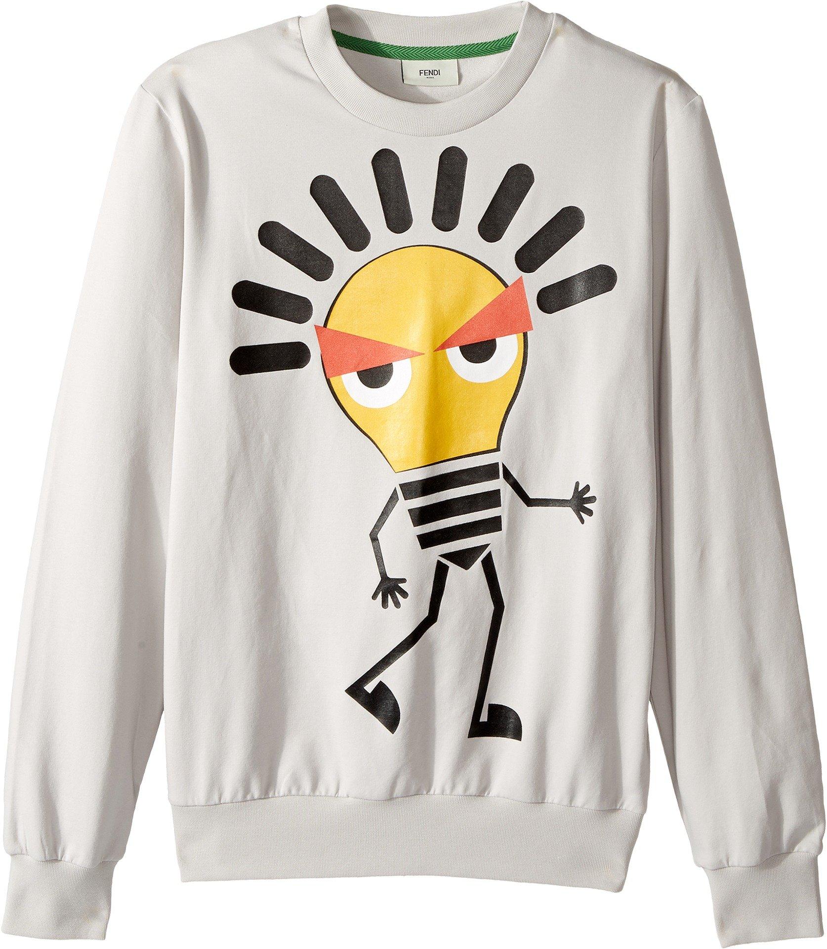 Fendi Kids  Boy's Long Sleeve Sweat Top w/ Lightbulb Design on Front (Big Kids) Light Grey Sweatshirt