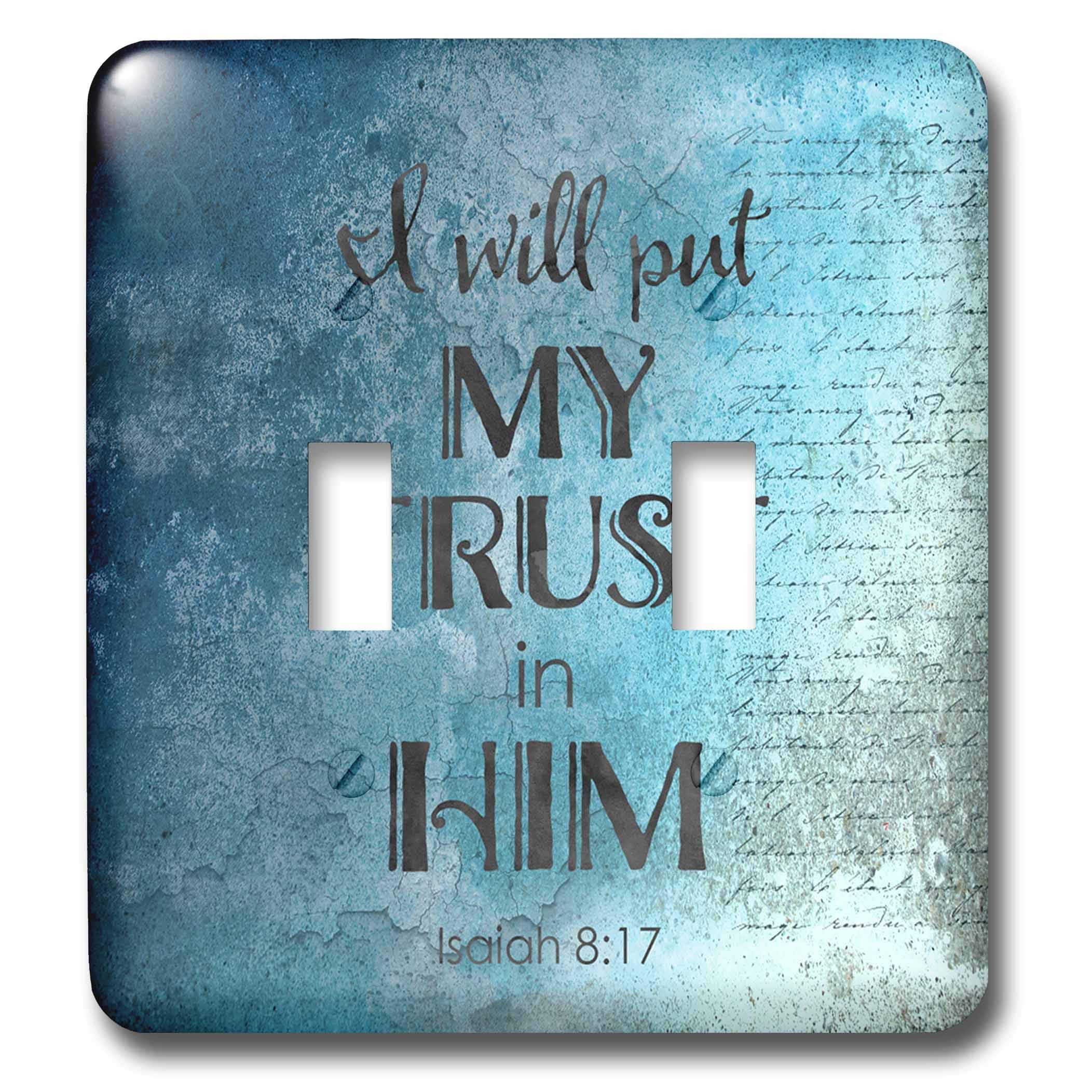 3dRose Andrea Haase Inspirational Typography - Blue Christian Quote Typography I will Put My Trust In Him - Light Switch Covers - double toggle switch (lsp_289417_2)