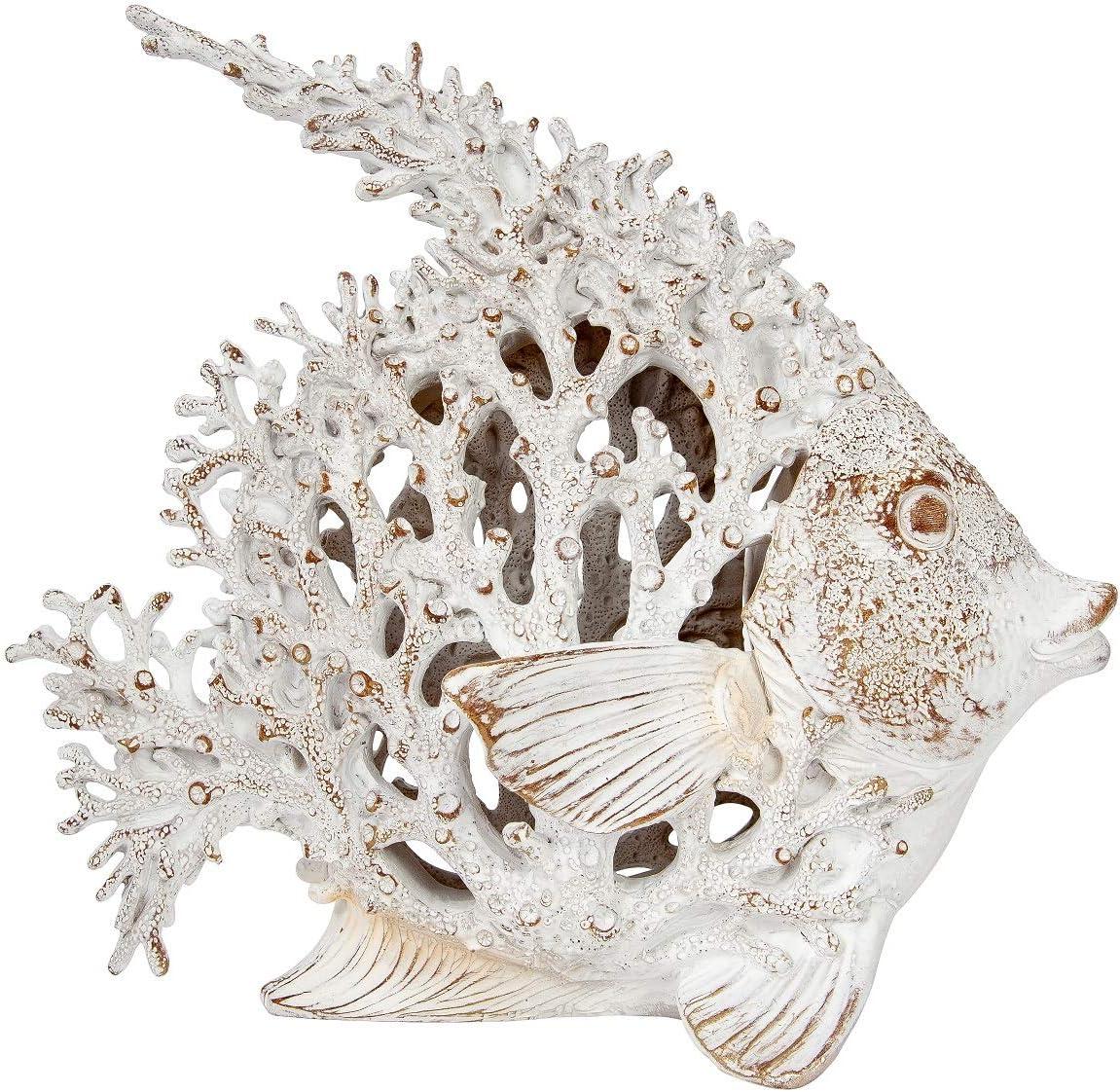 DeJon Fish Unique White Coral Look Angelfish Table Top Collectible Figurine 10