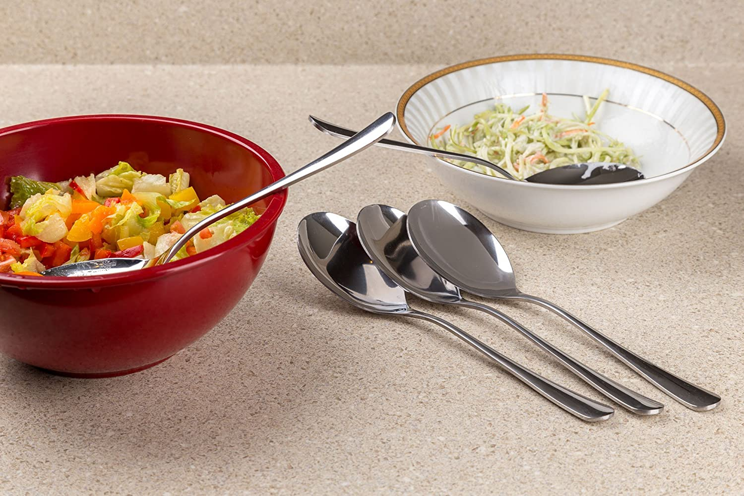 Set of 2 Stainless Steel Large Serving Spoon By Kitchen Winners Buffet /& Banquet Style 10 inch High Polish Finish