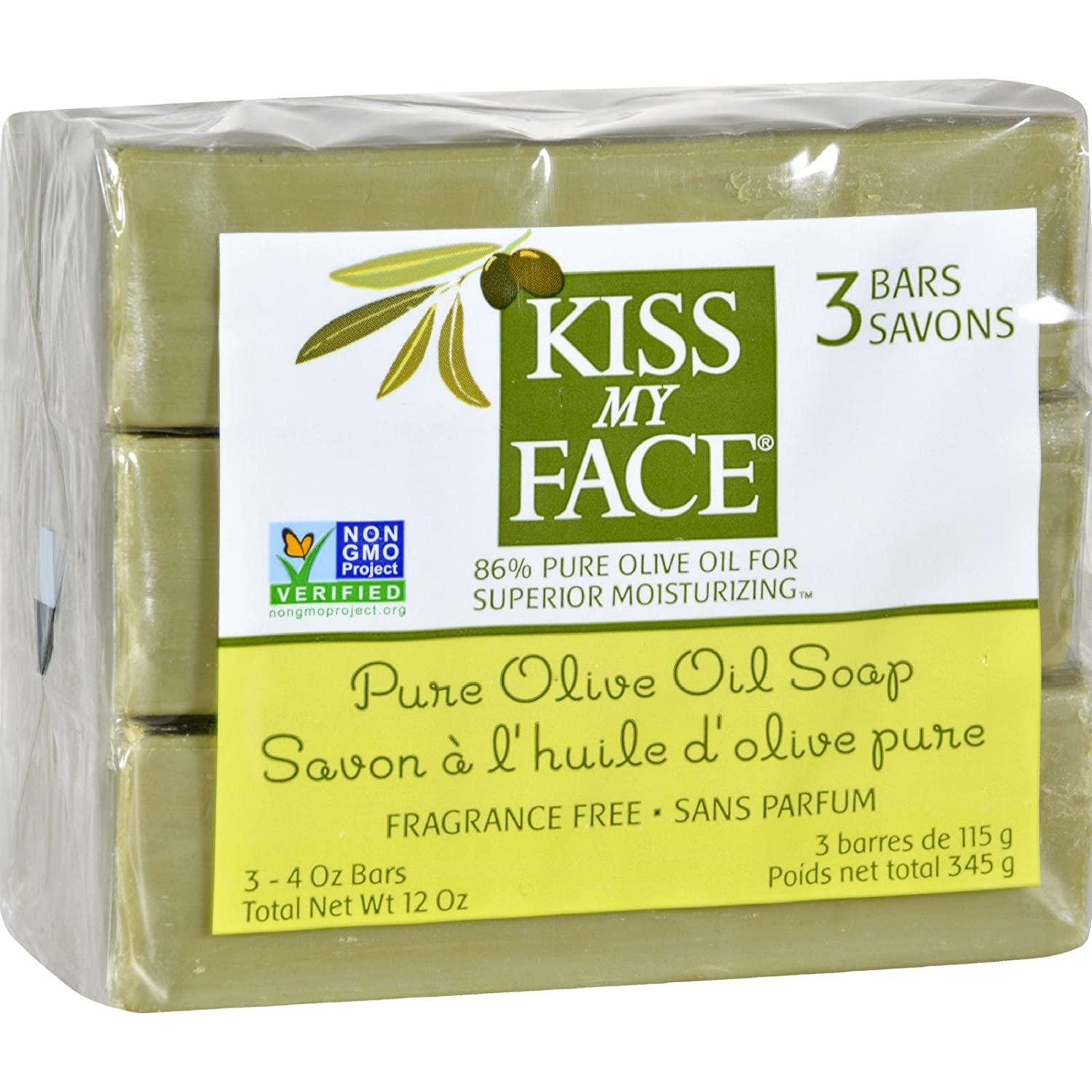 Kiss My Face Soap Bar 3pk Pure Olvo