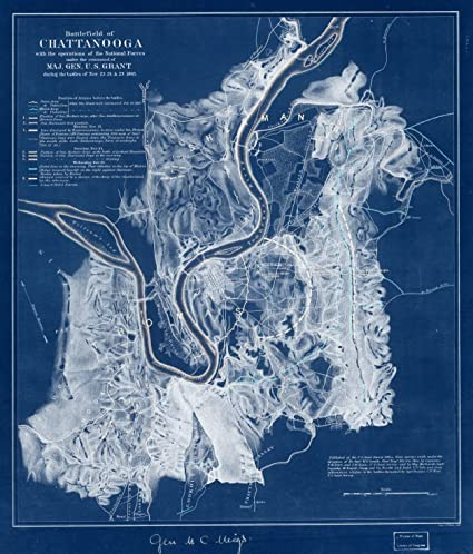 Amazon 18 x 24 blueprint style reproduced old map of 18 x 24 blueprint style reproduced old map of 1863battlefield of chattanooga with the operations malvernweather Images