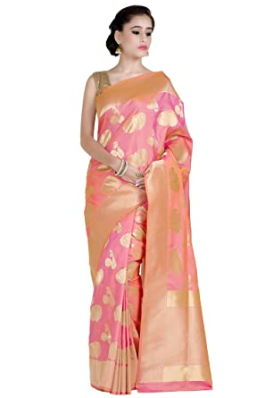 94320e3ba3 Laethnic Peach Banarasi Silk Saree: Amazon.in: Clothing & Accessories