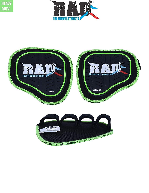 Rad Heavy Dutyペアジム手袋/ワークアウトのグリップPull Ups Heigh品質ネオプレンラバーグリップパッドby For Men & Women 'sウエイトリフティング一般、クロスフィットトレーニング、フィットネスや練習  グリーン B07CZBVT4H