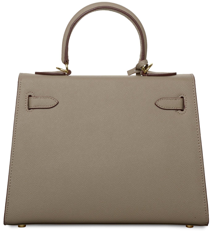 Women's Padlock Handbag Genuine Leather Taiga Top Handle Satchel Bag Cherish Kiss(28CM, Taupe) by Cherish Kiss (Image #4)