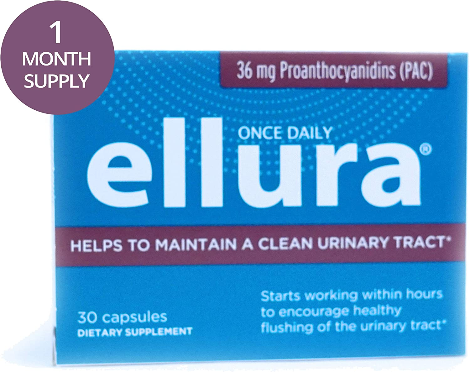 ellura 36 mg PAC 30 caps – Medical-Grade Cranberry Supplement for UTI Prevention – Highest Potency
