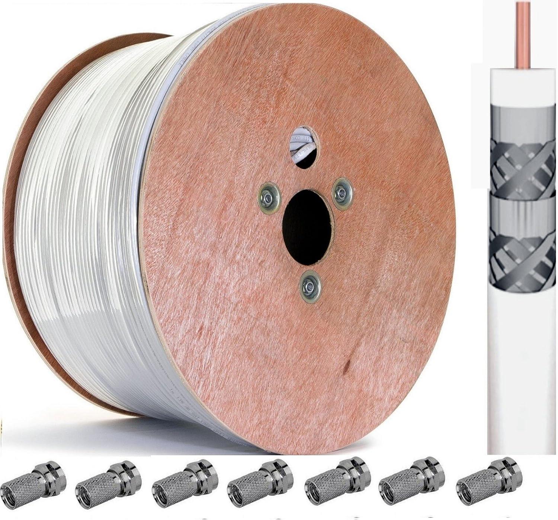 [incluye 100 x F-conector] Premium 500 M 120 db SAT por Cable coaxial para antena de satélite FULL HD TV 3D coaxial cable 4-apantallado - Inko ...