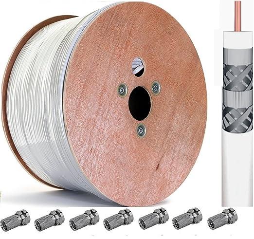 [+ 200 Conectores F] 500 m 120 TRENDSKY Sat Cable Satélite Cable Coaxial de
