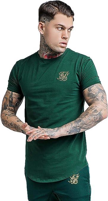 Sik Silk Hombre Hem curva Logo Gimnasio de la camiseta, Rojo