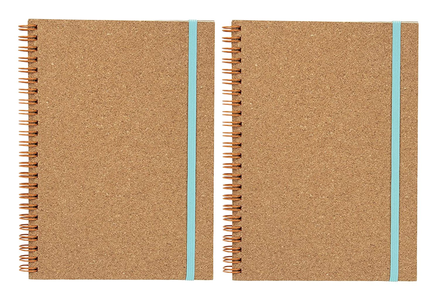 Spiral Notebooks Cork Cover- 2-Pack Eco-Friendly Lined Hard Cover Notebooks Elastic Strap Closure, Travel Journal, Diary, Notepad Office, School, Student, 60 Sheets, 6.25 x 8.3 inches