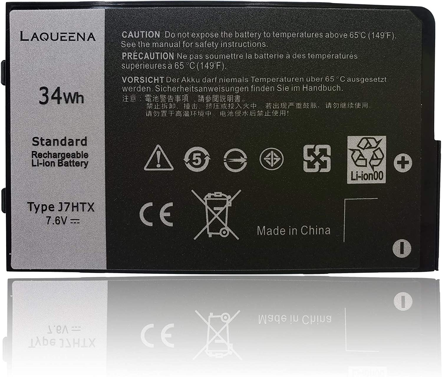 Laqueena J7HTX Laptop Replacement Battery for Dell Latitude 7202 7212 7220 Rugged Extreme Tablet Series Notebook 7XNTR 02JT7D FH8RW 7.6V 34WH/4342MAH 2-Cell