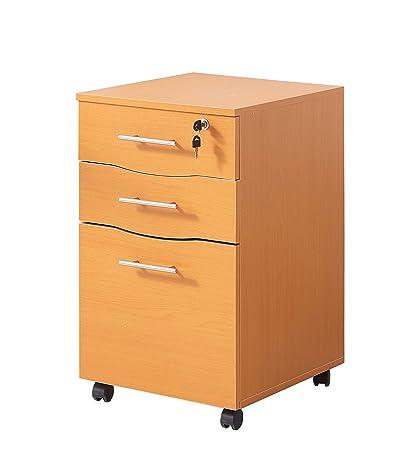 Mueble de 3 cajones con cerradura de madera de haya para ...