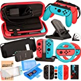 Accessories Kit for Nintendo Switch Games Starter Wheel Grip Caps Carrying Case Screen Protector Controller Charger (17…