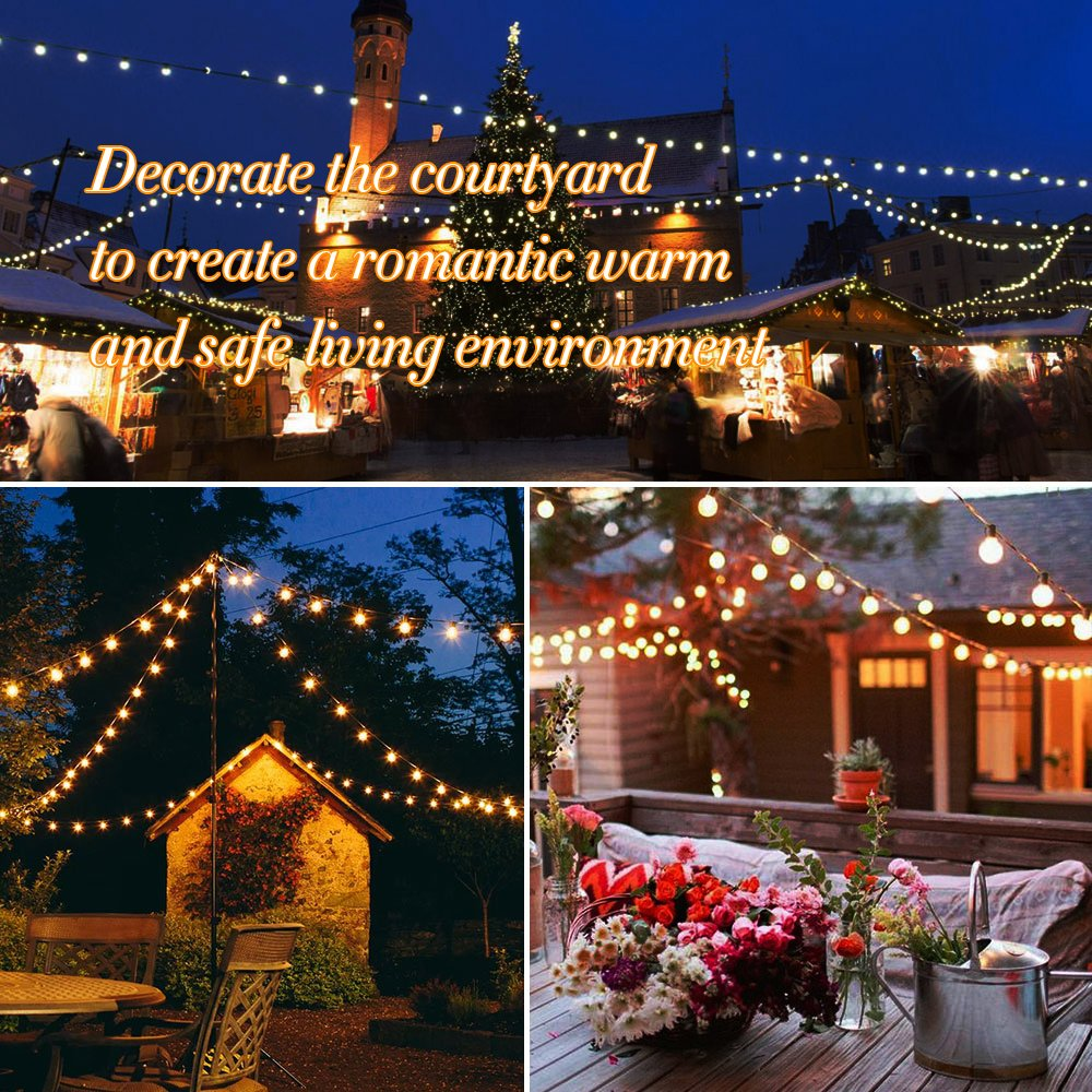 Globe String Lights G40 UL Listed Patio Lights for Indoor Outdoor Commercial Decor 25Ft with 25 Clear Bulbs Outdoor String Lights for Party Wedding Garden Backyard Deck Yard Pergola Gazebo, Black by Upook (Image #6)