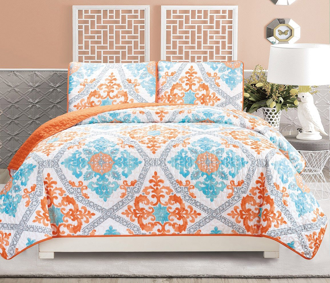 3-Piece Fine printed Quilt Set Reversible Bedspread Coverlet