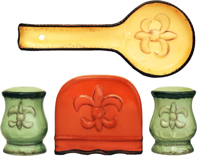 Tuscany Fleur De Lis 4 Piece Stove Top Set