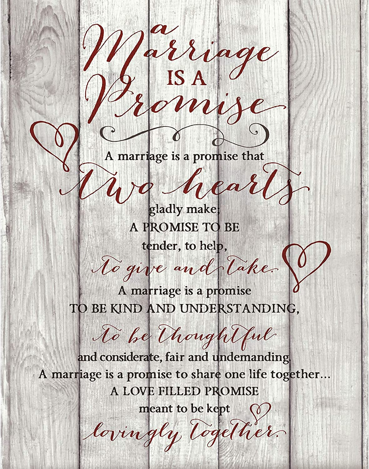 """Marriage Promise Prayer Wood Plaque with Inspiring Quotes 11.75""""x15"""" - Classy Vertical Frame Wall Decoration 