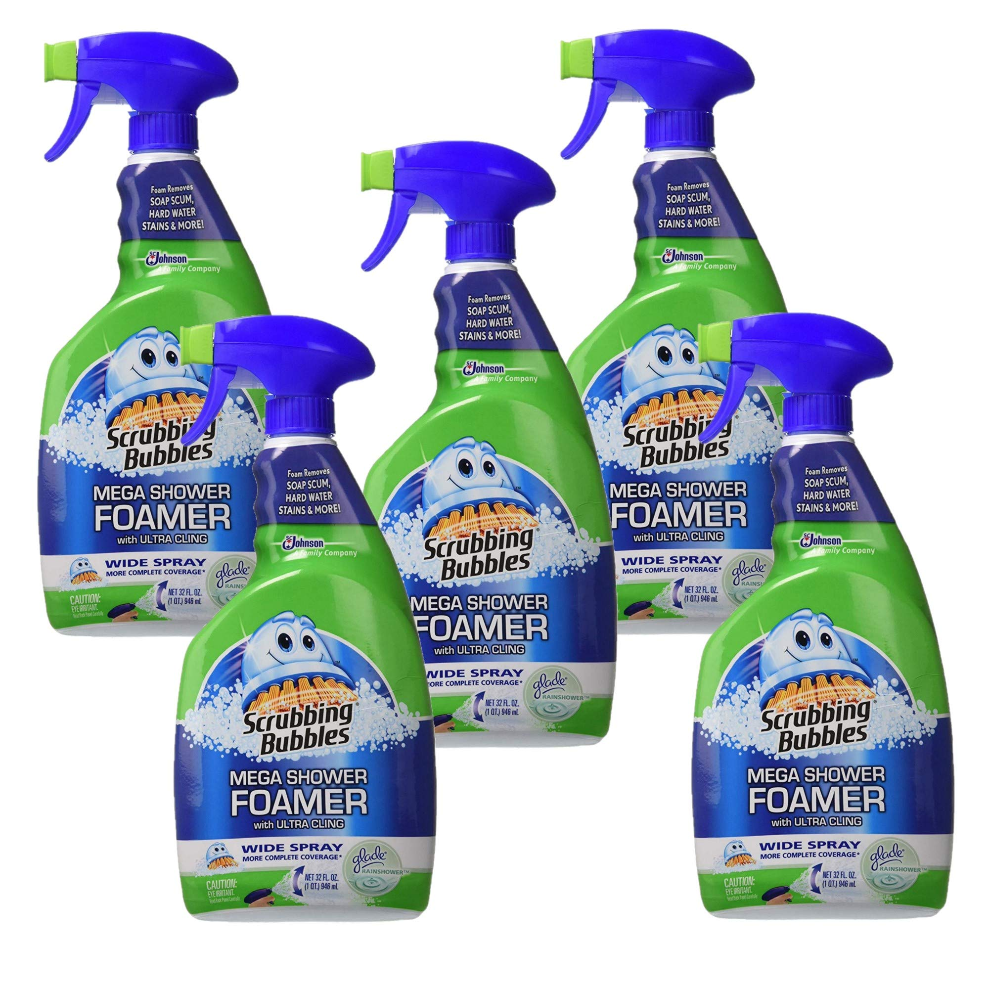 Scrubbing Bubbles Mega Shower Foamer Mousse with Ultra Cling, Wide Spray and Large Jet, Twin Pack, 32 Ounce, Pack of 5 by Scrubbing Bubbles