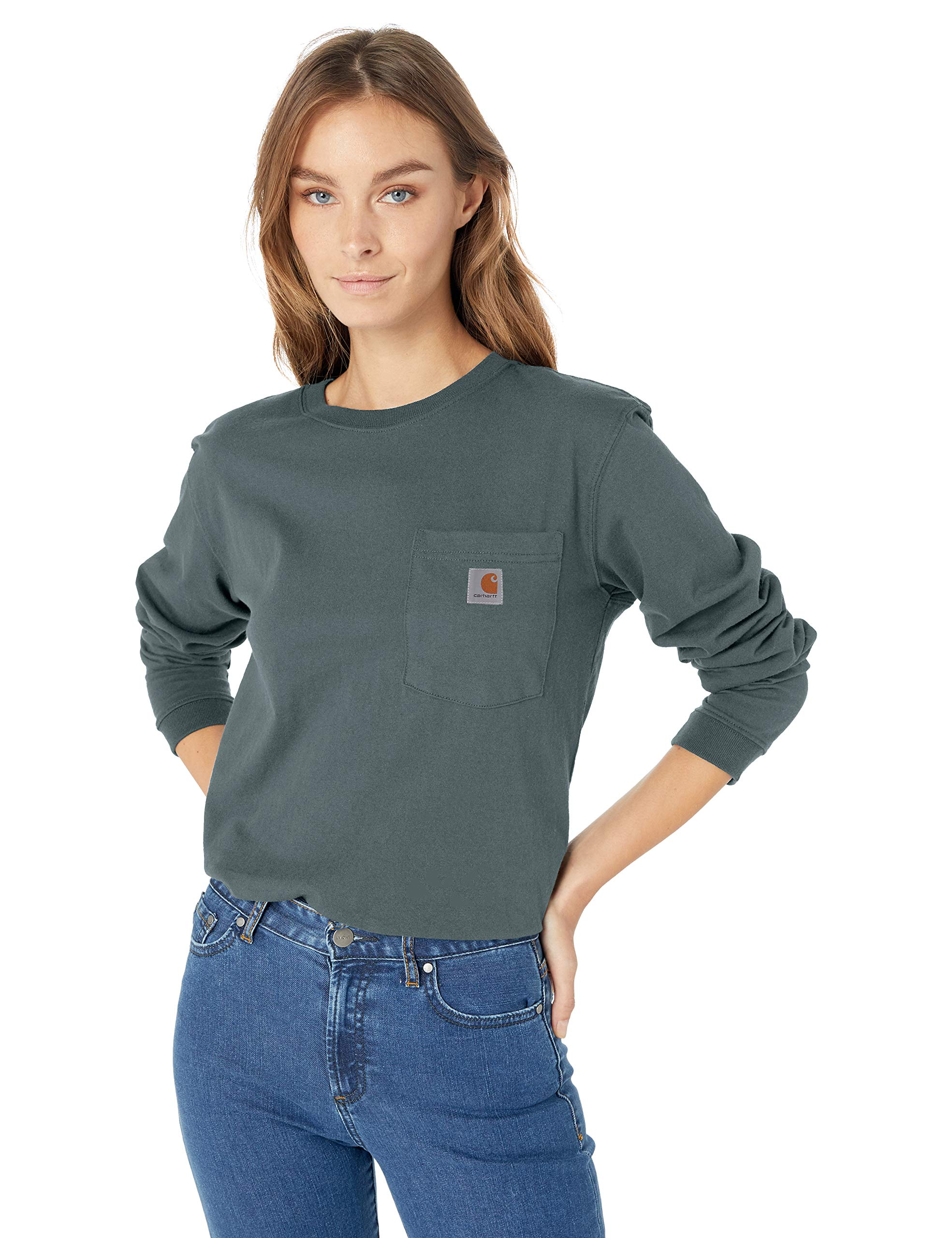 Carhartt Women's Wk126 Workwear Pocket Long Sleeve T Shirt, sea Glass, Medium