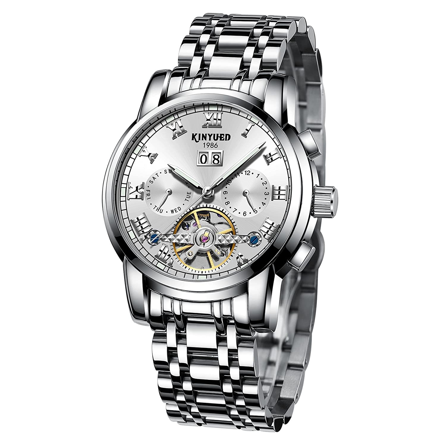 64392af5f Amazon.com: KINYUED Men's Fashion Tourbillon Automatic Movement Mechanical  Wrist Watches Classic Day Date Calendar Silver Stainless Steel Band with  White ...