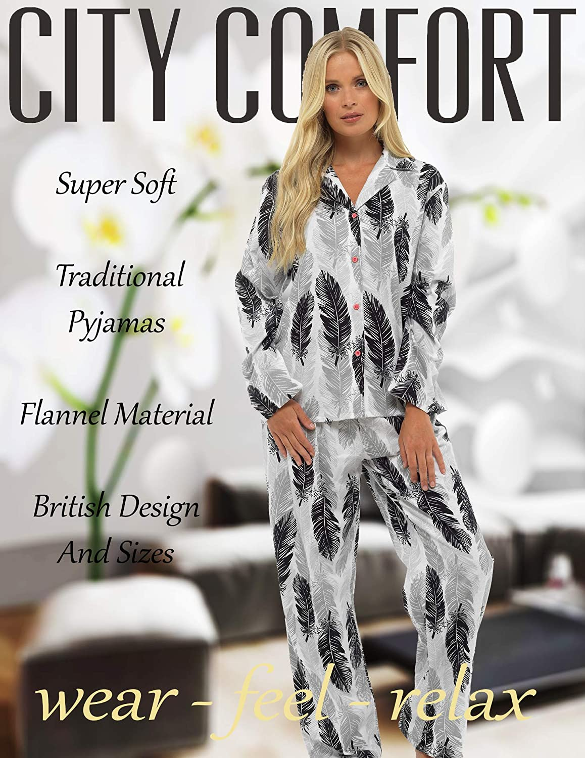 CityComfort Ladies Comfy Pigiama Donna Soft Fleece Lounge Wear Perfect Present for Women Ricamato con Manica Lunga