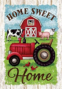 Custom Decor Tractor & Barn - Home Sweet Home - Standard Size, Decorative Double Sided, Licensed and Copyrighted Flag - Printed in The USA Inc. - 28 Inch X 40 Inch Approx. Size