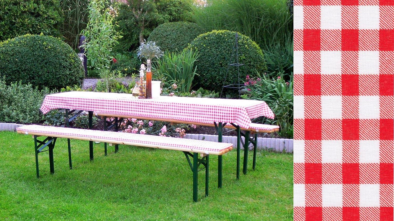 DEGAMO Auflagen Set für Festzeltgarnitur mit 50cm + 70cm Tisch, rot-kariert