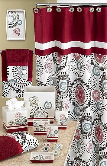 Popular Bath Suzanni Shower Curtain Burgundy