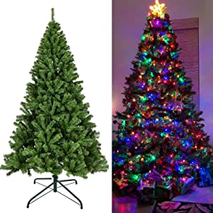 Juegoal Artificial Christmas Tree with LED String Lights (NOT Pre-Strung) 8 Lighting Modes Fake Xmas Tree with Durable Metal Legs (6 FT)