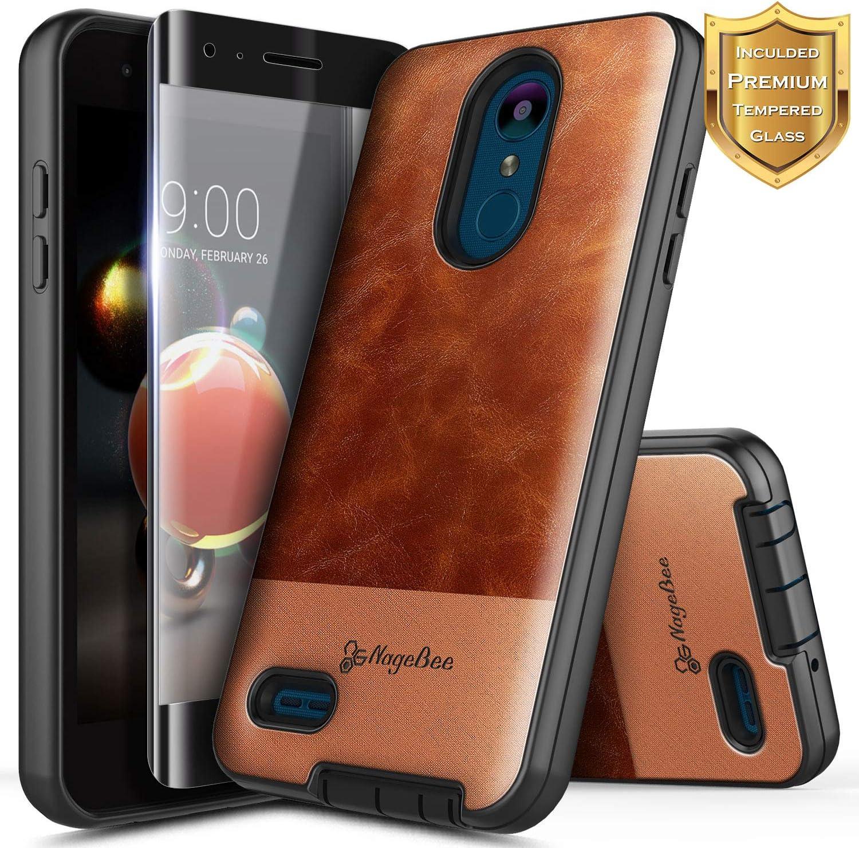 NageBee LG Rebel 4 LTE Case, Aristo 3+ Plus/Aristo 3/Aristo 2/Aristo 2 Plus/Tribute Dynasty/Empire/Zone 4/Phoenix 4/Fortune 2/Risio 3/Rebel 3/K8+/K8S w/Screen Protector, Premium Leather Case -Brown