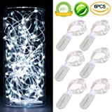 [6-PACK] 7Feet Starry String Lights,Fairy String Lights 20 Micro Starry Leds On Silvery Copper Wire. 2pcs CR2032 Batteries Included, Works for Wedding Centerpiece,Party,Table Decorations(Cool White)