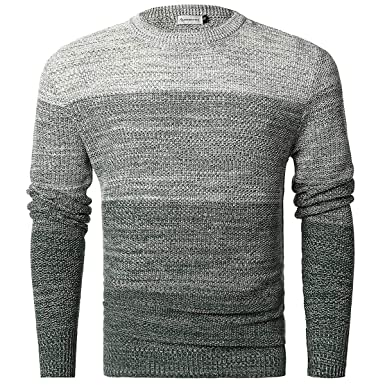 7feb4de15f Image Unavailable. Image not available for. Color  Chain Stitch Men s  Gradient Faded Knitted Pullover ...