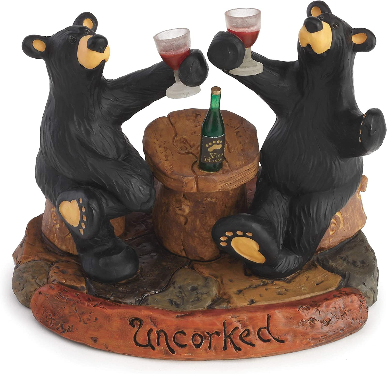 Uncorked Black Bear 5 x 6 Hand-cast Resin Figurine Sculpture
