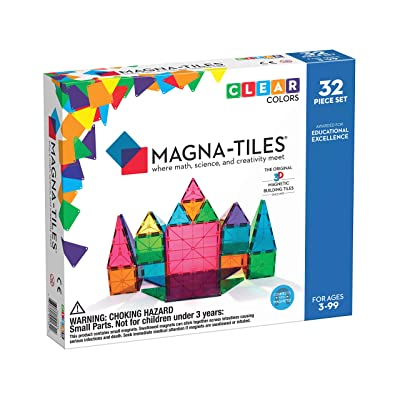 Magna-Tiles 32-Piece Clear Colors Set, The Original, Award-Winning Magnetic Building Tiles for Kids, Creativity and Educational Building Toys for Children, STEM Approved: Industrial & Scientific
