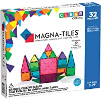 Magna-Tiles 32-Piece Clear Colors Set, The Original, Award-Winning Magnetic Building Tiles for Kids, Creativity and…