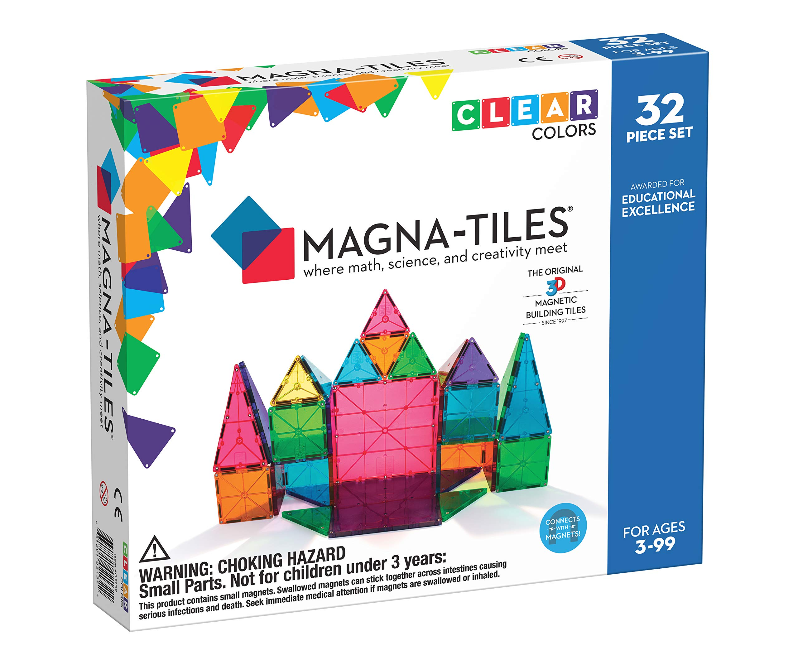 Magna-Tiles 32-Piece Clear Colors Set, The Original, Award-Winning Magnetic Building Tiles for Kids, Creativity and Educational Building Toys for Children, STEM Approved