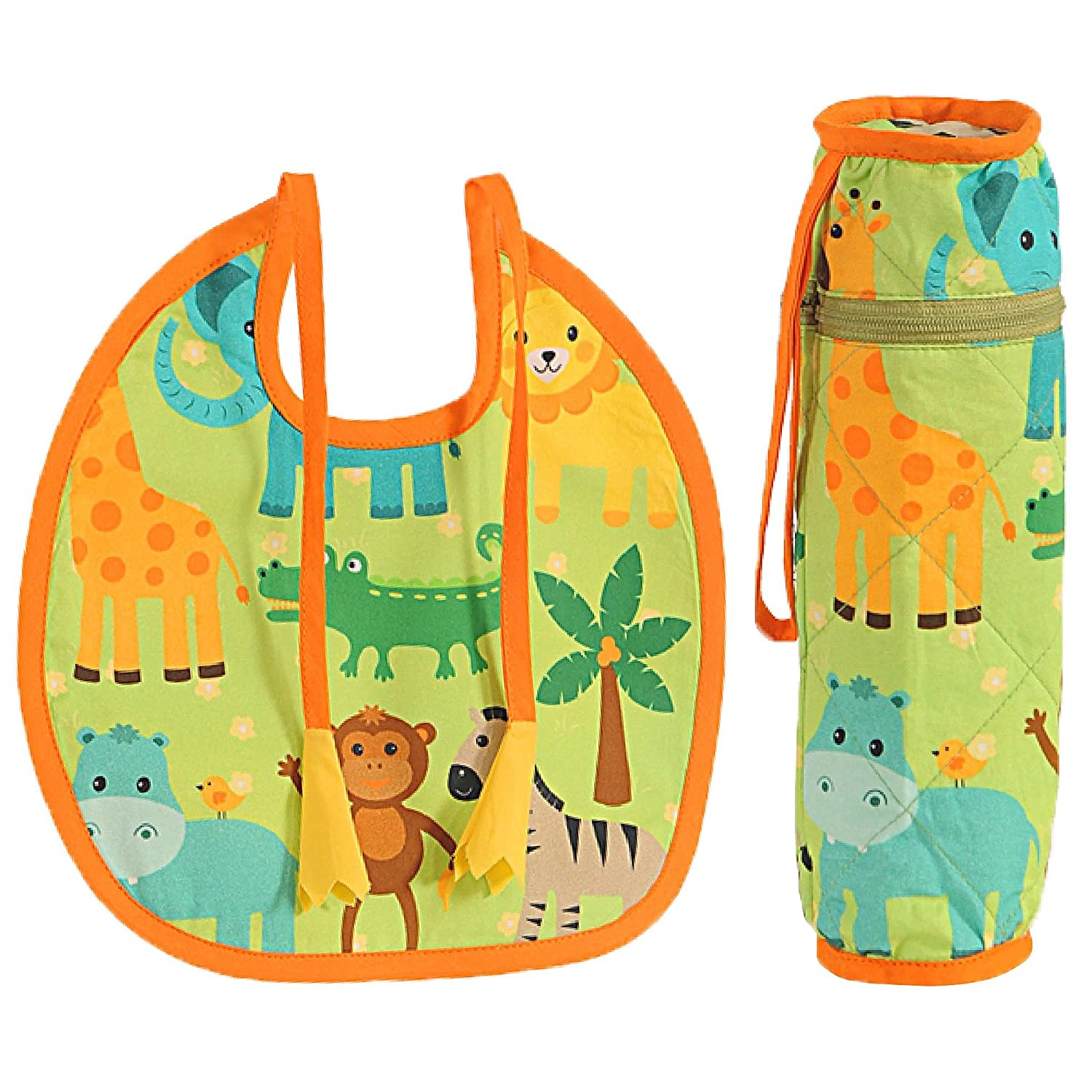84f291bee Buy Digitally printed 300 TC Cotton Quilted Bib And Bottle Cover Set For  Infant Kids-Jungle Animal Online at Low Prices in India - Amazon.in
