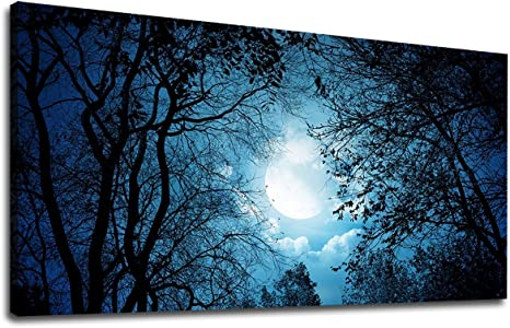 Blue Moon at Night Panoramic Picture Canvas Print Home Decor Wall Art