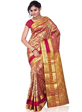 c1ed34e558 Image Unavailable. Image not available for. Colour: Kanchipuram Art Pure  embouse embroidery jakord broket border party wear designer wear silk saree  sari