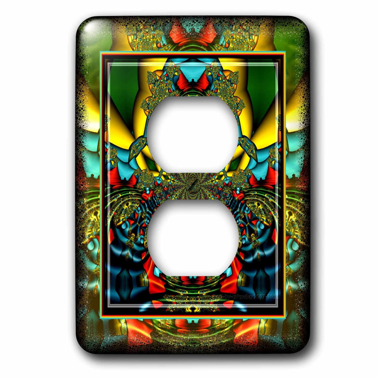 3dRose lsp_24841_6 Psychedellica 2 Hippie Flowerpower Retro Fractal Psychedellic Red Yellow Blue Retro Oriental India 2 Plug Outlet Cover