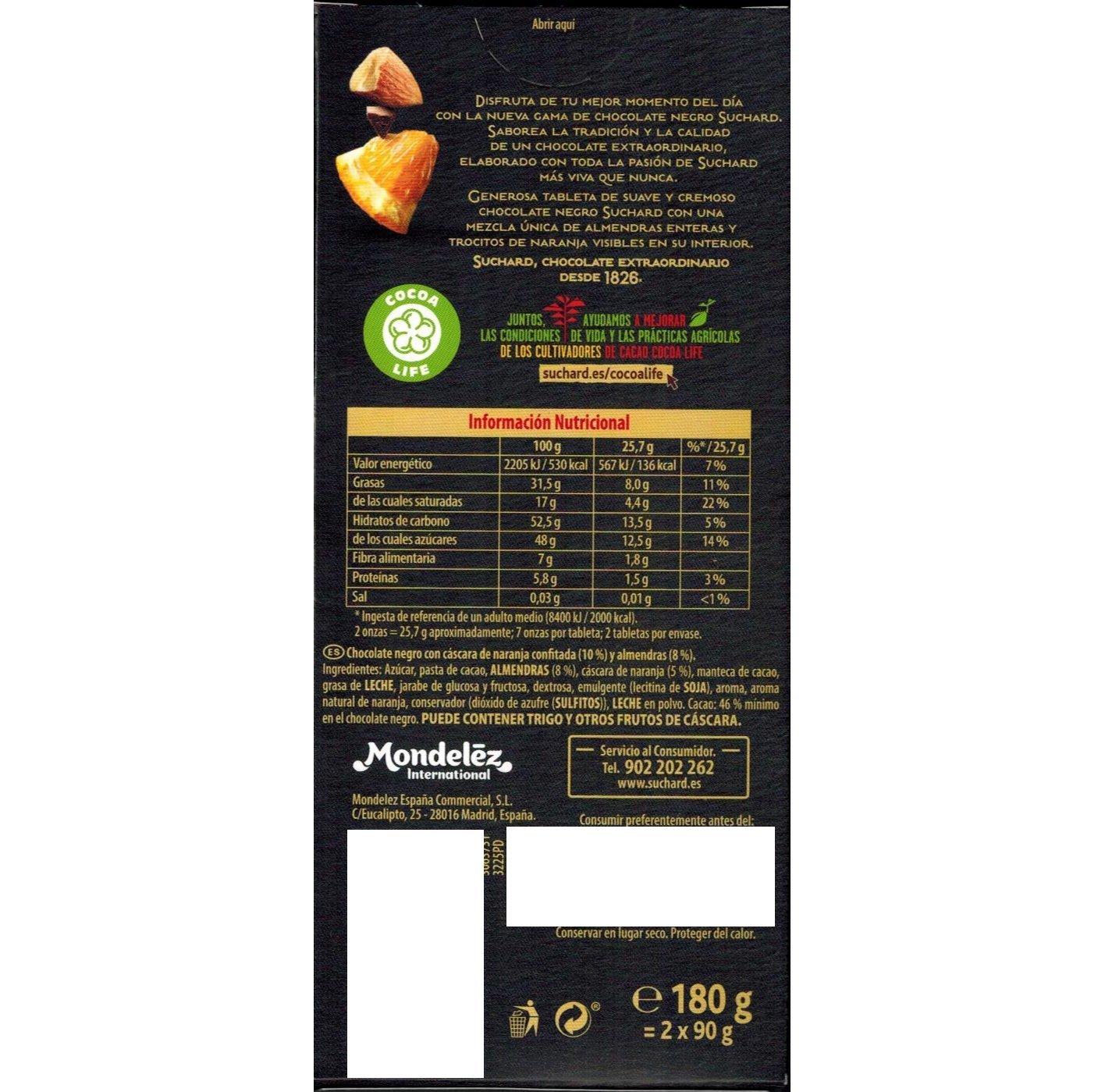 Suchard - Roc - Negro - Almendras enteras y Naranja - 180g: Amazon.es: Alimentación y bebidas
