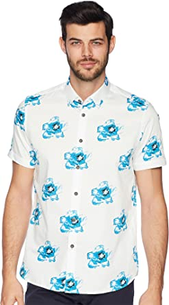 f9a98be4ae598e Amazon.com  Ted Baker Men s Silky Short Sleeve Floral Print Shirt ...