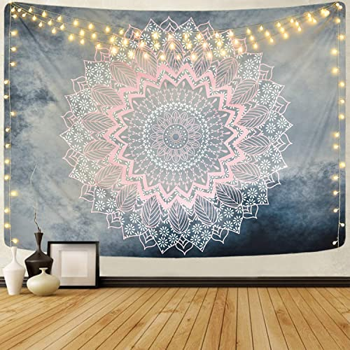 Likiyol Mandala Tapestry Grey Pink Tapestry Hippie Bohemian Floral Tapestries Wall Hanging for Room Bedroom