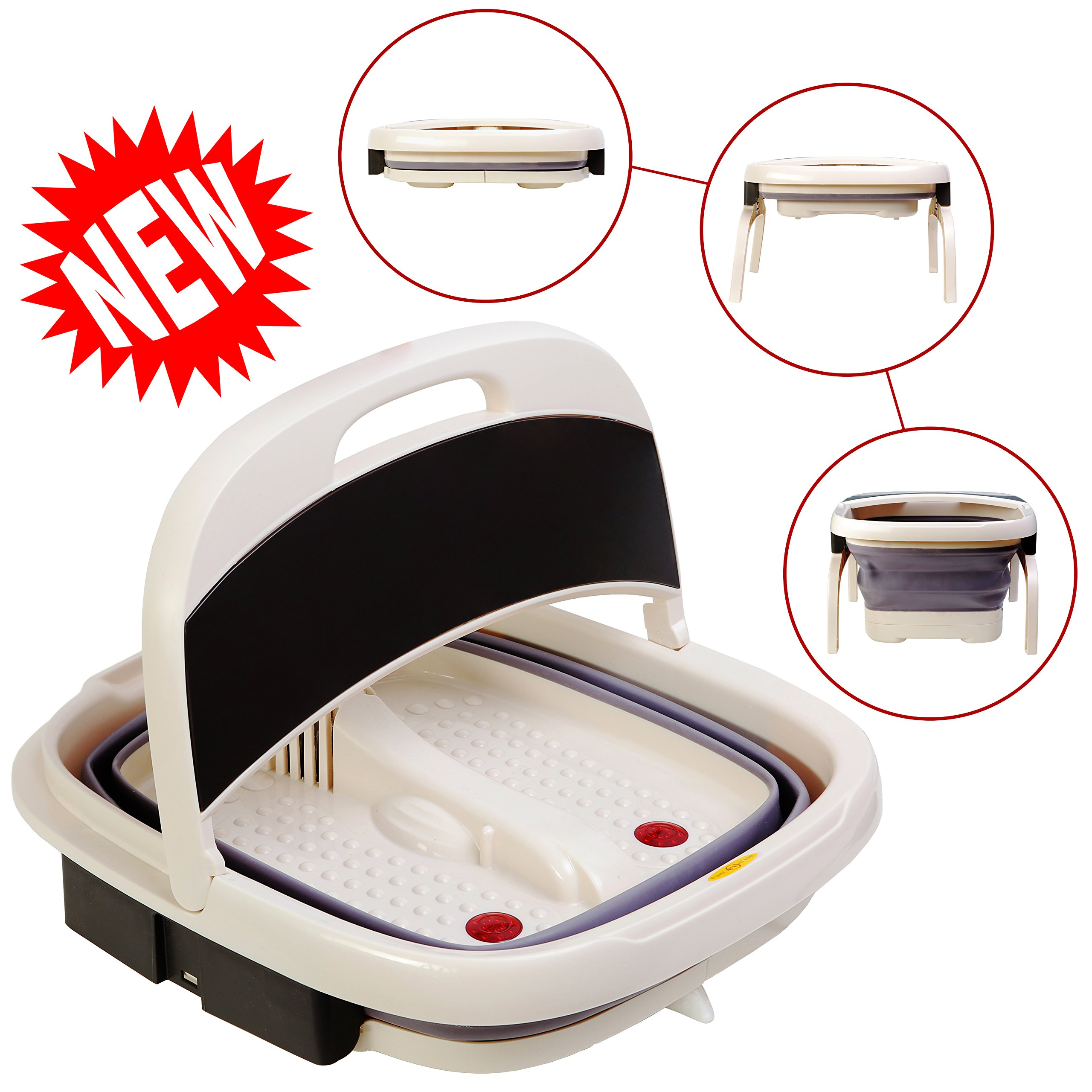 Foot Spa Massager – Portable Foot Bath Tub NEW 2018 VERSION w/Electric Heating & Bubble Wave – All in One Pedicure Machine Set For Relaxation & Red Light Therapy – Collapsible Design For Easy Storage