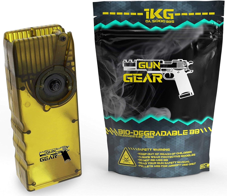 GunGear Airsoft Set BB 0,20g Bio Kugeln 6mm 5000 Softair BBS 1kg inklusive Speedloader f/ür MidCap Magazine M4 M16