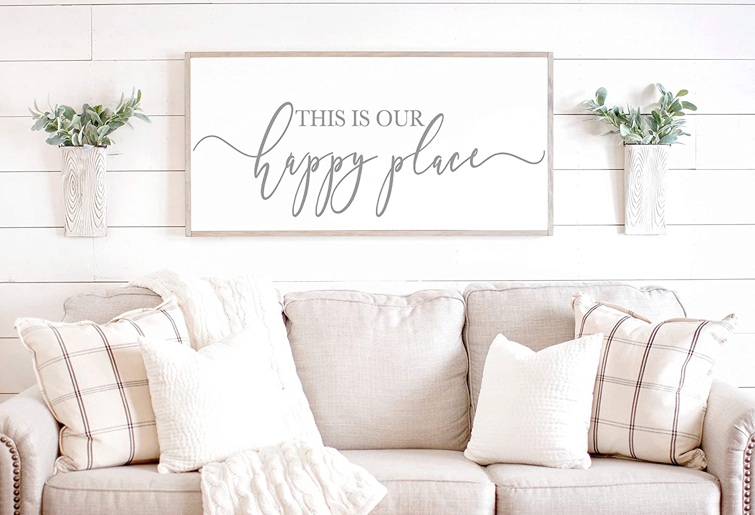 daoyiqi Wood Framed Sign 12x22'' Bible Verse Printable Wooden Prints This is Our Happy Place Sign Living Room Wall Decor Living Room Sign Happy Place Wood Sign Sign for Above Couch