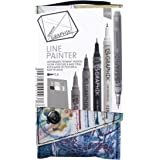 Derwent Graphik Line Painter bunte Fineliner, Palette Nr. 1, 5 Stück 5 Jungle, Graphite, Magic, Snow, Fox